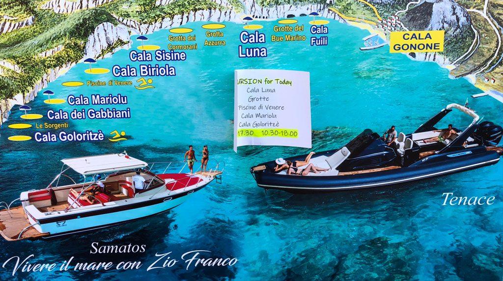 Mappa delle cale da visitare a Cala Gonone